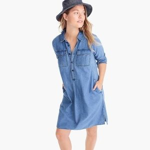 J.Crew Chambray Shirtdress W/ Utility Pockets L